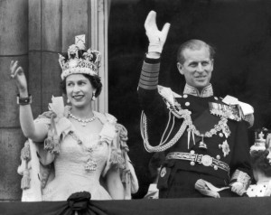 UNITED KINGDOM - JUNE 02:  The Queen and the Duke of EDINBURGH wave from the famous balcony at Buckingham Palace to the vast crowds massed outside the Palace on June 2 1953 upon their return from Westminster Abbey after the coronation of the Queen.  (Photo by Keystone-France/Gamma-Keystone via Getty Images)