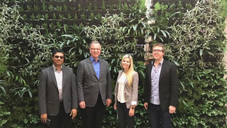 Minister Bruce Ralston with Raghwa Gopal, CEO of Accelerate Okanagan (AO), Andrew Greer, Program Strategist at Accelerate Okanagan and Brea Retzlaff the Operations Manager at AO at the new AO building downtown Kelowna.