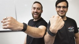 Lukas-Karim Mehri (l) and Gautam Sadarangani, of BioInteractive Technologies, have developed a gesture recognition wristband - the device has drawn the attention of Techstars, a major U.S.-based accelerator. [PNG Merlin Archive]